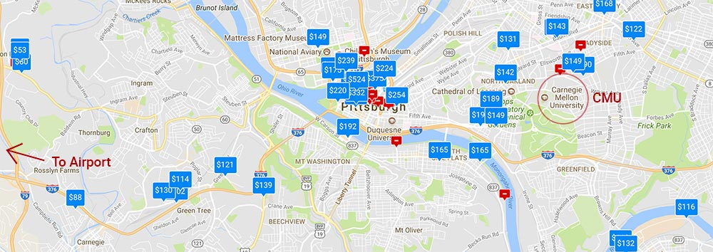 Map of Pittsburgh showing avaialble accomodation locations