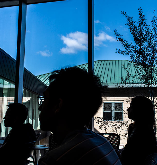 Students in silhouette